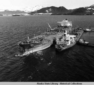 Exxon Valdez oil is transferred to the Exxon San Francisco. Photo: U.S. Coast Guard, 17th District, Photograph Collection. Accessed via Alaska Digital Archives.