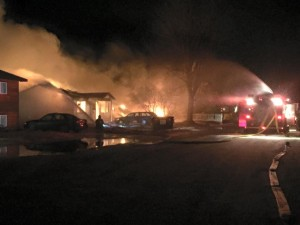 Natural gas explosions and fires destroyed four homes on Lilac Lane following the earthquake at 1:30 a.m. Sunday. (Photo courtesy of the Kenai Fire Department)