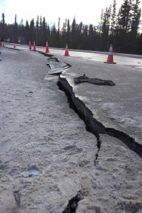 . A 150-foot section of Kalifornsky Beach Road near Kasilof was damaged in the magnitude 7.1 earthquake that struck Southcentral Alaska at 1:30 a.m. Sunday. (Photo courtesy of Jenny Neyman, KDLL Kenai)