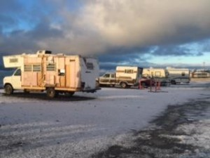 Rv's and campers in the Seafarer's Memorial parking lot. (Photo by Quinton Chandler/KBBI)