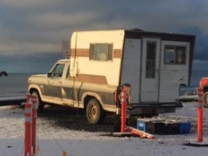 Ken Boyle's truck and camper. (Photo by Quinton Chandler/KBBI)
