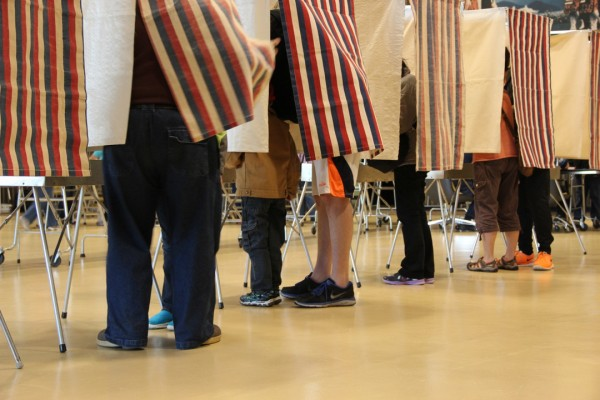 Voters in Sitka during the August 2014 state primary election. Photo: Rachel Waldholz/KCAW
