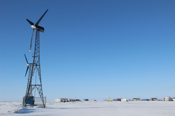 Kwigillingok has five wind turbines, four of which are currently working. Photo: Rachel Waldholz/APRN