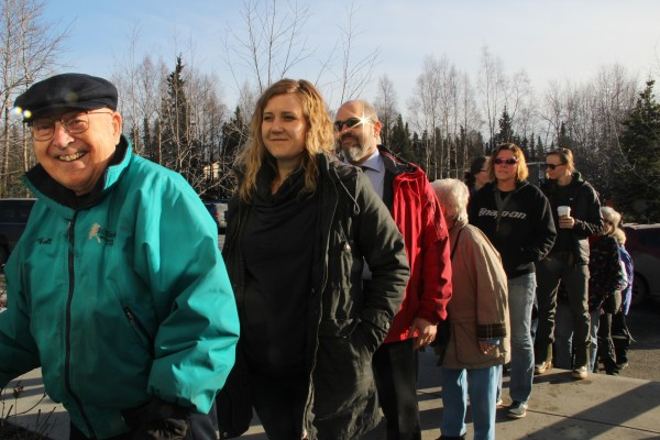 A line stretched out the door at the First Christian Church polling station on LaTouche Street in Anchorage. Photo: Rachel Waldholz/APRN
