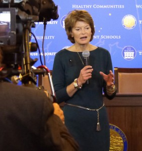 Sen. Murkowski spoke to reporters Wednesday in Juneau. (Skip Gray/360 North)