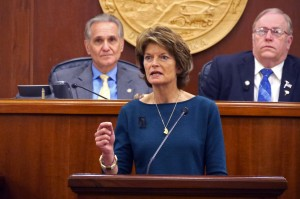 Sen. Lisa Murkowski addresses a joint session of the Legislature on Feb. 17 (Photo: Skip Gray/KTOO