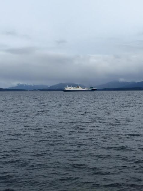 The Wave Venture, the GCI repair ship, off the shores of Angoon. (Photo courtesy of Jorgen Eliason)