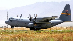 A C-130 Hercules from the Alaska Air National Guard's 144th Airlift Squadron takes off from Bagram Airfield, Afghanistan, on a previous deployment (File photo: David Kurle/US Air Force.)