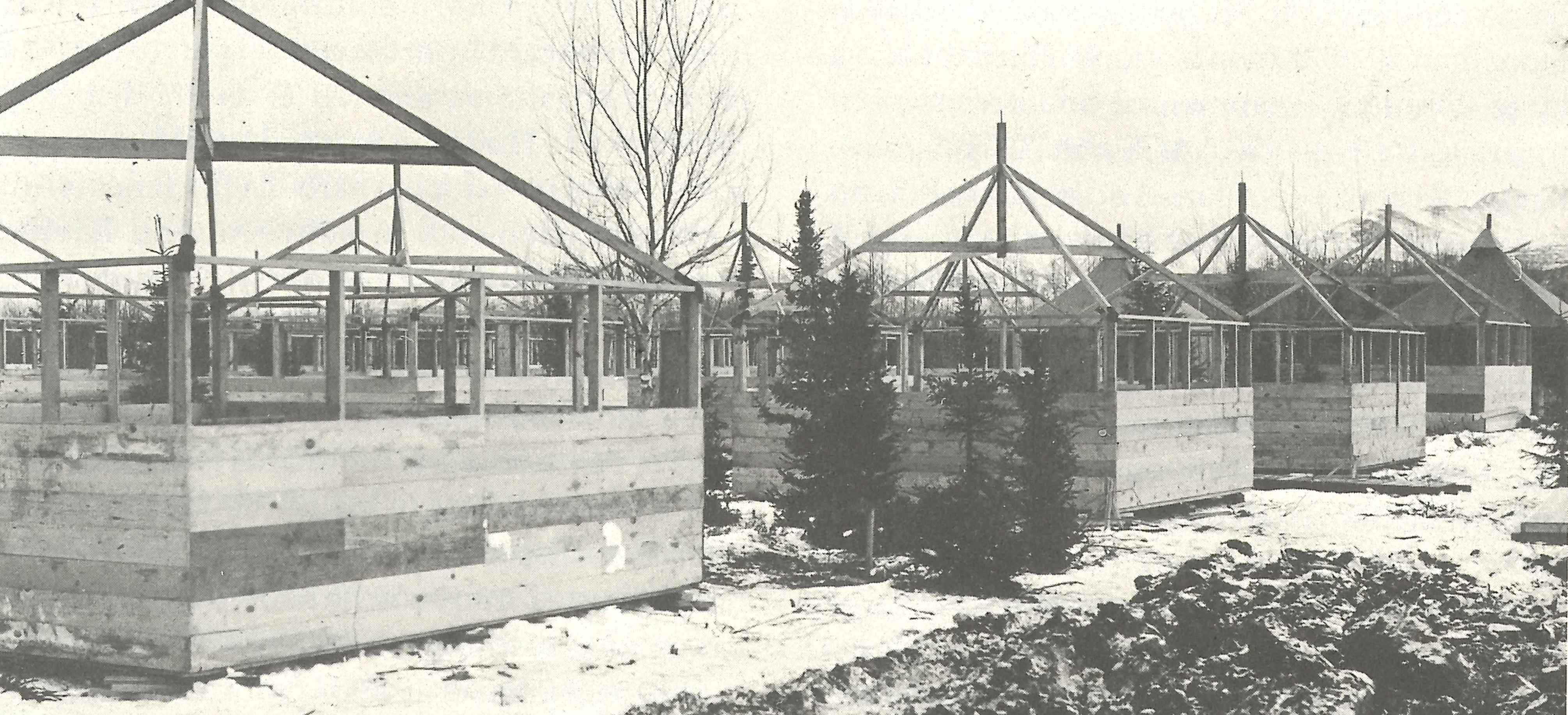 Camp construction at Fort Richardson, 1942 (Courtesy of Dr. Morgan Blanchard, Northern Land Use Research Alaska)