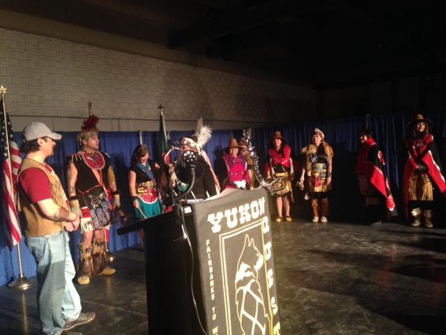 Tlingit dancers honor Hugh Neff (Photo by Molly Rettig, KUAC -Fairbanks)