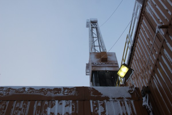 A Doyon drill rig putting in new wells at the ConocoPhillips CD5 drill site on the North Slope. Photo: Rachel Waldholz/APRN