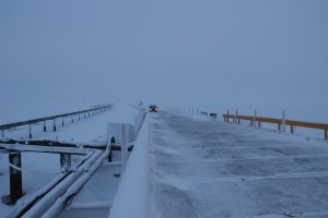 The five mile road from Alpine Central Facility to the CD5 drill site crosses four bridges, including the Nigliq Channel bridge, the longest on the North Slope. Photo: Rachel Waldholz/APRN