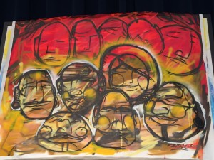 The painting produced by Bisco during the first day of the Racial Equity Summit. Hillman/KSKA