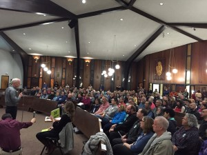 More than 400 people packed into St. Anthony's Catholic Church on Monday to discuss the community's lack of detox beds. (Hillman/KSKA)