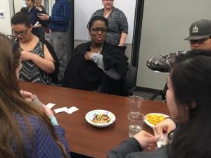 Judge Pamela Washington speaks with students during the Color of Justice program. Hillman/KSKA