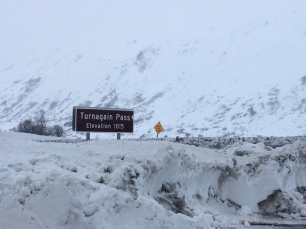 The road at Turnagain pass sits at about 1,000 feet of elevation. Up there, winter looks a lot different than it does in Anchorage. Photo: Monica Gokey/APRN.