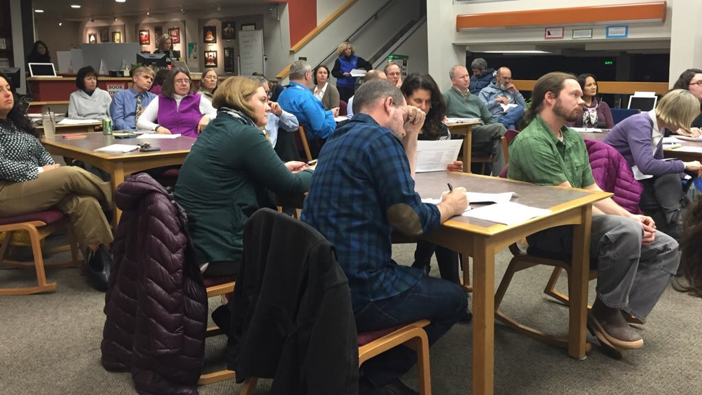 The Juneau School District held a public forum on the budget Feb. 2 at the Juneau-Douglas High School library. (Photo by Lisa Phu, KTOO - Juneau)