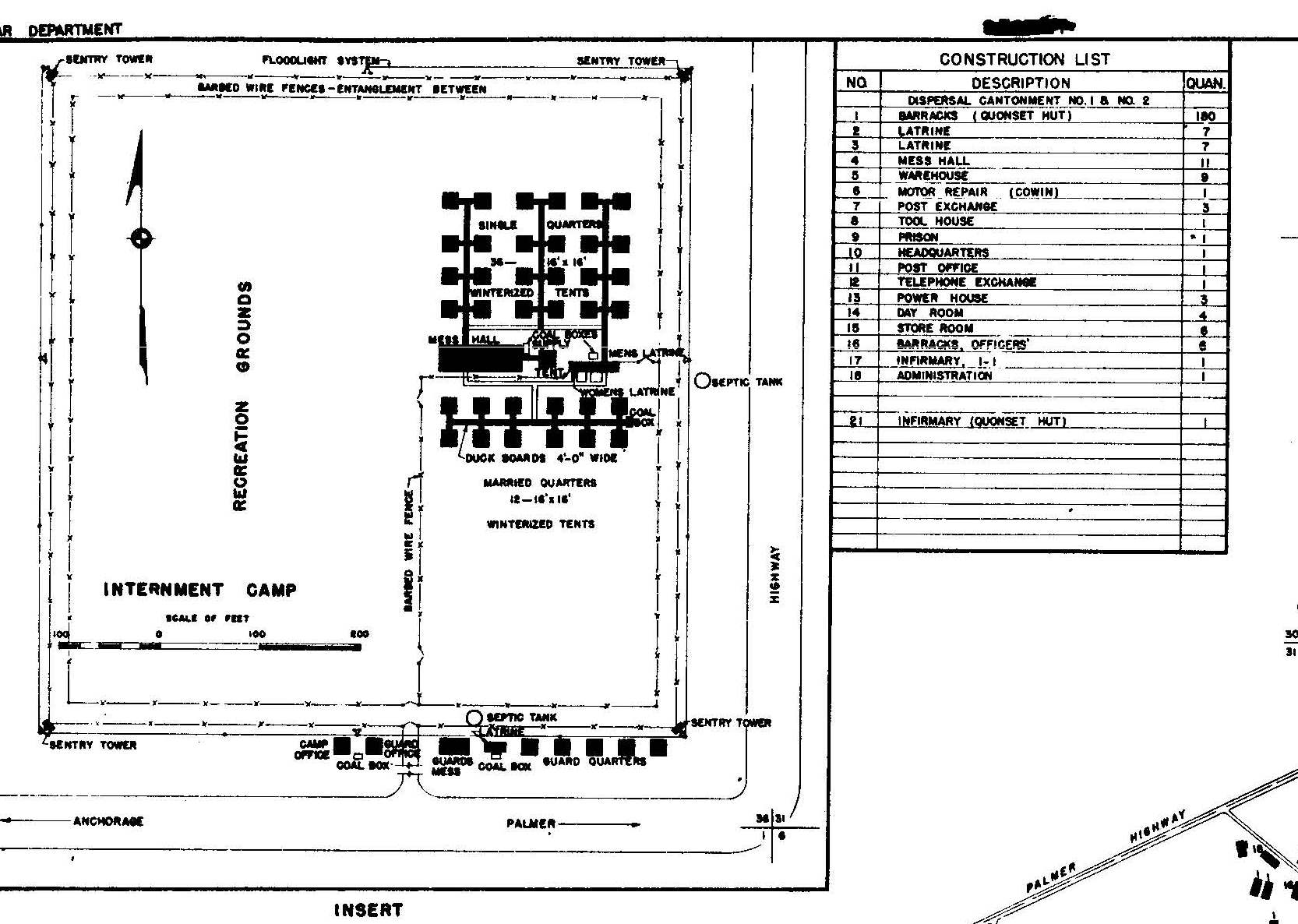 A schematic of the internment camp layout (Courtesy of Dr. Morgan Blanchard, Northern Land Use Research Alaska)