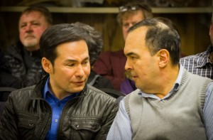 Rep. Neal Foster, left, and Sen. Donny Olson during a discussion of legislative priorities with the City Council and the pubic in Nome. (Photo via KNOM)