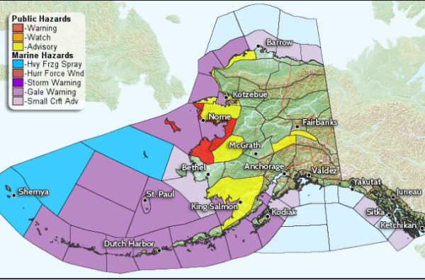 The Southern Seward Peninsula is under a winter storm warning until Wednesday at 6 p.m. In Nome, all schools and state offices are closed. All flights have also been canceled. (Image: National Weather Service)