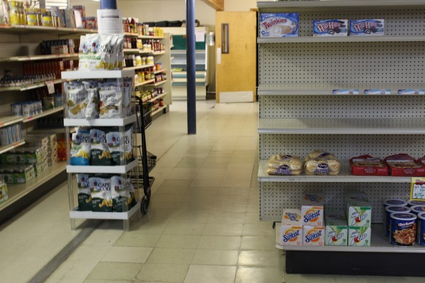 Perishable items were the hardest for the Angoon Trading Company to keep in stock, but even some of the snacks started to run out. (Photo by Elizabeth Jenkins/KTOO)