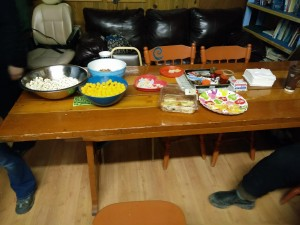 Snack table in the Kachemak Cannabis Club. (Photo by Quinton Chandler/KBBI)