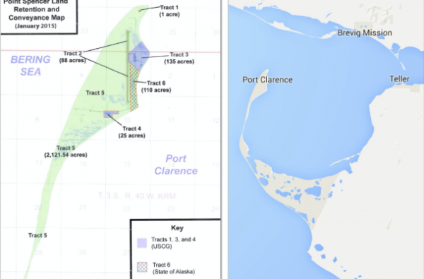 A map of the Point Spencer allotment shows the BSNC portion in green, the Coast Guard portion in purple, and the State of Alaska portion in checkerboard. (Image: Office of Rep. Don Young, Google)