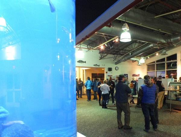 An open house for the proposed removal of the sunken tug Challenger was held at the Douglas Island Pink and Chum facility on Tuesday. (Photo by Kelli Burkinshaw/KTOO)