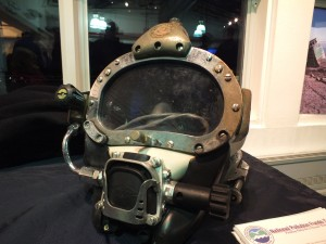 A diver's personal helmet is put on display by Global Diving & Salvage during the open house. (Photo by Matt Miller/KTOO)