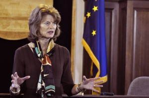 Sen. Lisa Murkowski talks with reporters during a press availability (File photo by Skip Gray, 360 North)