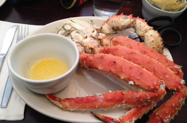 A crab leg meal (Photo by Laura Kraegel, KNOM - Nome)