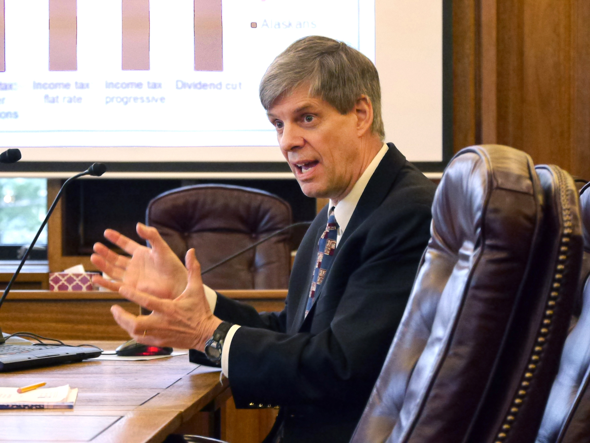 Institute of Social and Economic Research Director Gunnar Knapp presents possible economic effects of state budget proposals to the Houses Finance Committee, Feb. 25, 2016. (Photo by Skip Gray/360 North)