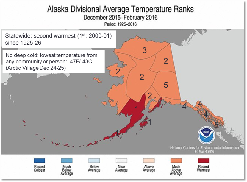 Average Alaska temperature rankings for this past winter. (Photo courtesy of NOAA's National Centers for Environmental Information)