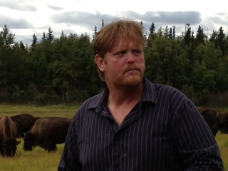 Todd Pettit raises bison at Little Pitchfork Ranch in Palmer (Photo by Ellen Lockyer, KSKA - Anchorage)