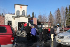 The line to vote snaked out the door at First Christian Church. Photo: Rachel Waldholz/APRN