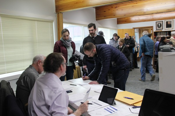 The First Christian Church on LaTouche Street in Anchorage was packed with voters for the 2016 Alaska GOP Presidential Preference Poll. Photo: Rachel Waldholz/APRN