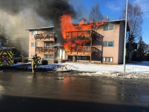 Sitka basketball players helped 11 occupants of this Anchorage six-plex escape the blaze. (Photo courtesy of Anyd Lee)