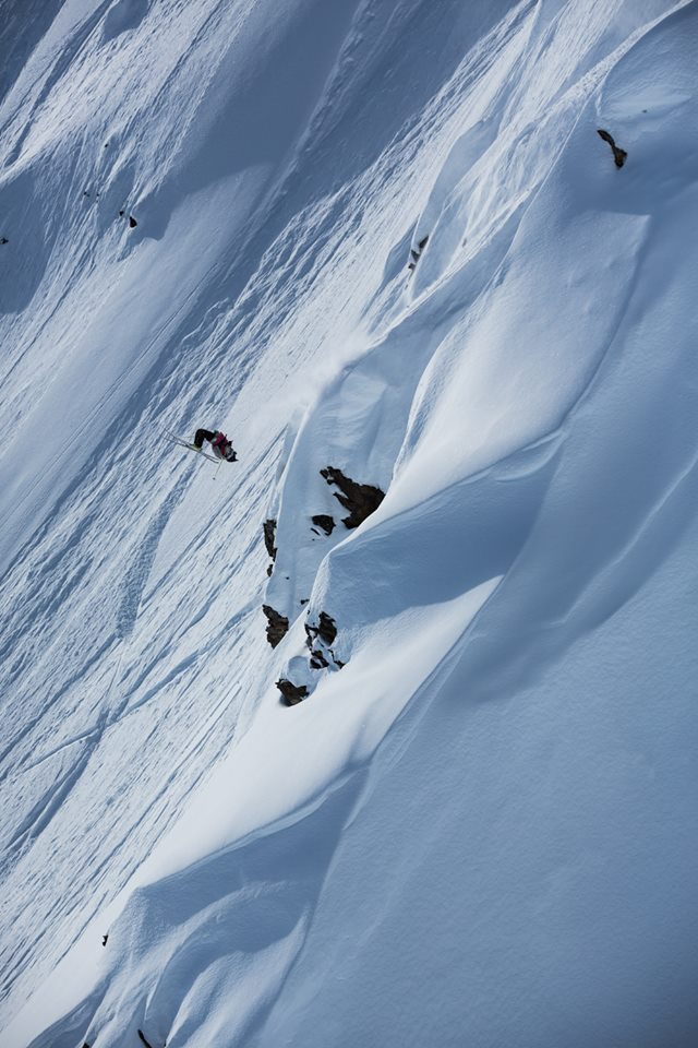 A skier pulls off a flip during the Haines competition. (Photo courtesy of Freeride World Tour)