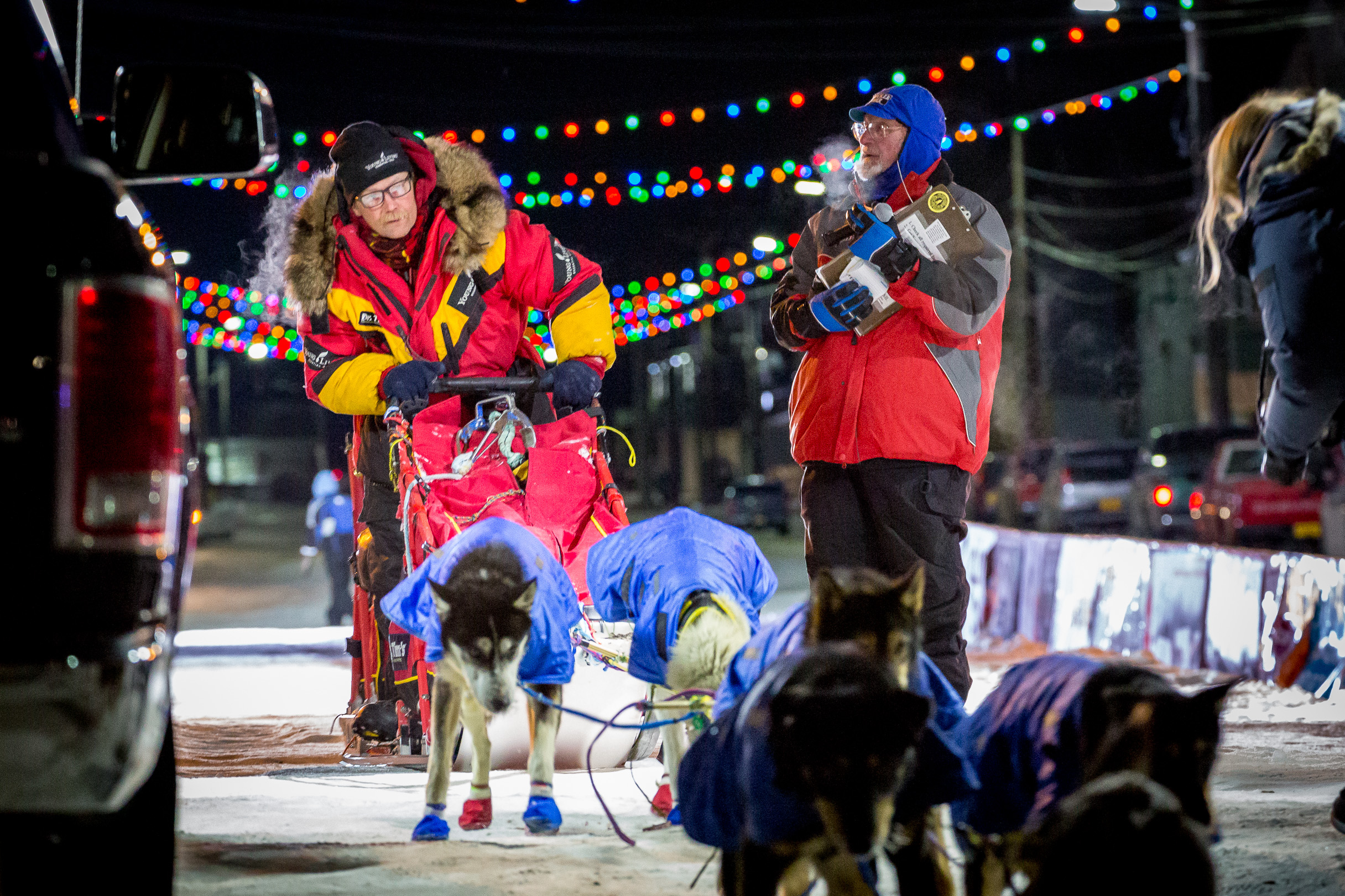 Mitch Seavey finishes the 2016 Iditarod in second place. (Photo by David Dodman/KNOM)