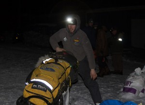 Sass bolted out of the Ruby checkpoint early Friday. (Photo by Zach Hughes, KSKA)