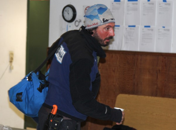 Cody Strathe preparing to leave Galena checkpoint after his 8 hour rest was up. (Photo by Zachariah Hughes/KSKA/0