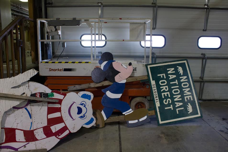 Cutouts in a Nome garage (Photo by Mitchell Borden)