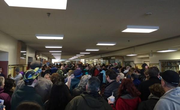 Democratic caucus-goers in flood Anchorage's West High School on Saturday morning. (Photo by Zachariah Hughs/Alaska Public Media)