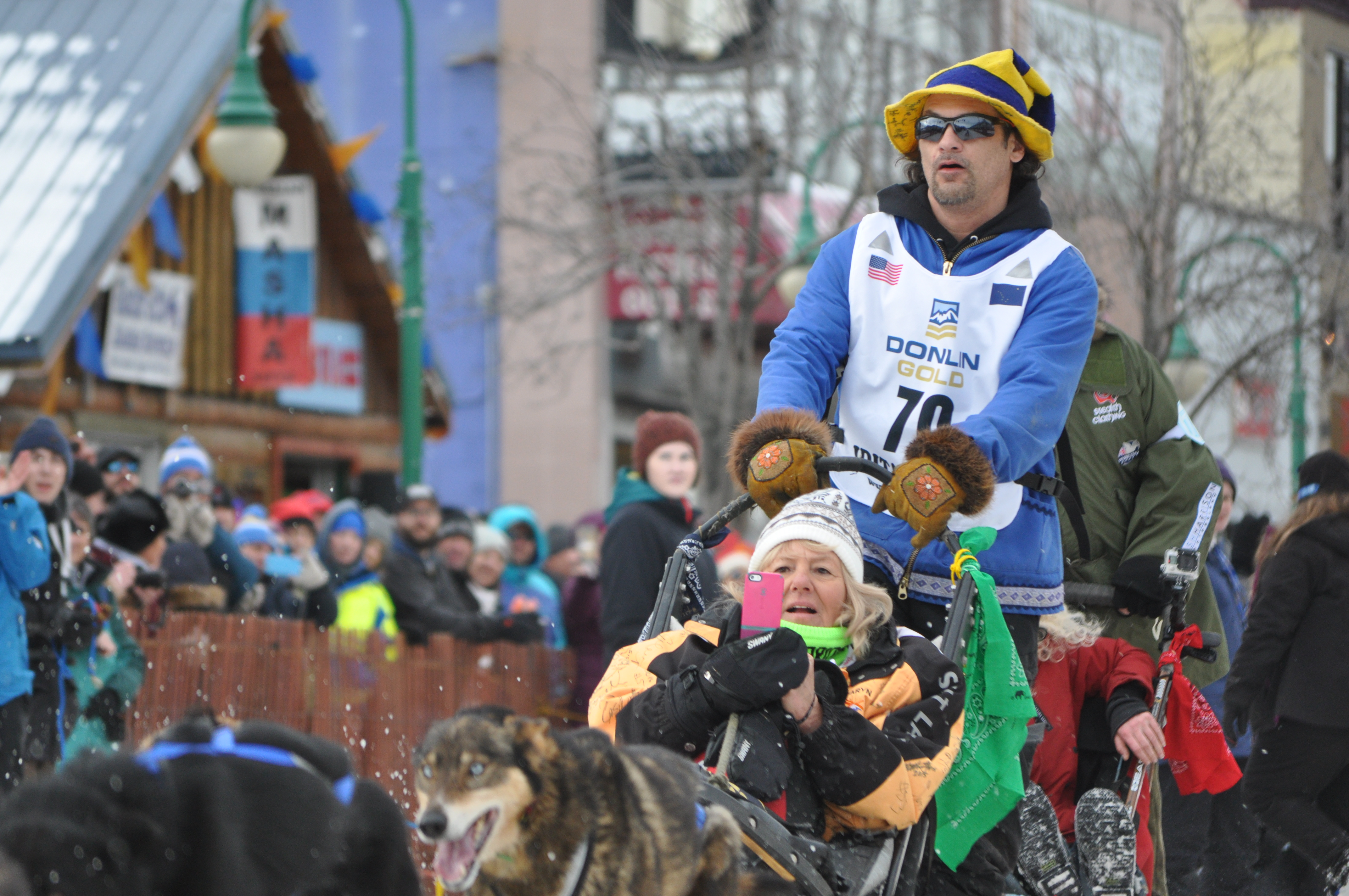 Hugh Neff at the ceremonial Iditarod start. Neff was the first racer out of Rainy Pass. (Photo by Pat Yack, APRN - Anchorage)
