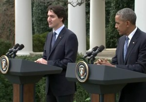 Prime Minister Trudeau and President Obama at the White House Thursday (Image: C-Span Video)