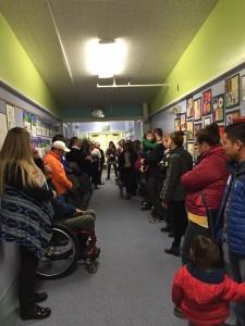Parents tour Aquarian Charter School in February. (Hillman/KSKA)