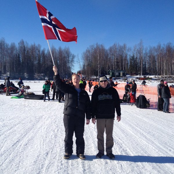 Two Anchorage-based Team Norway fans at the 2016 Iditarod starting line in Willow. (Photo by Ben Matheson)