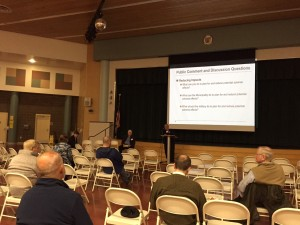The first community meeting on the potential JBER troop reduction was sparsely attended. (Hillman/KSKA)