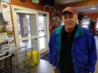 "Ron Jackson at a Haines coffee shop. He said, ""Senior income is stable … it survives the ups and downs of an economy."" (Photo by Emily Files, KHNS - Haines)"