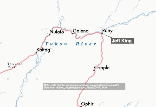 Jeff King is the first musher to Ruby. (Graphic by Ben Matheson / Alaska Public Media.)